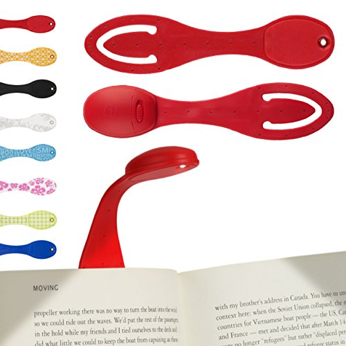 Gifts for Book Lovers Clip on book light for reading ? Flexible LED lighting for Home, Bedroom and Travel ? Doubles as Portable Lamp and Bookmark ? Batteries Included ? Great Birthday Gift for Book Lovers ? Red