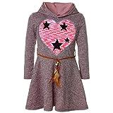 BEZLIT Mädchen Kapuze Wende-Pailletten Peticoat Fest Freizeit Kleid 21528, Farbe:Rosa, Größe:104