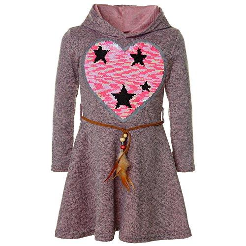 BEZLIT Mädchen Kapuze Wende-Pailletten Peticoat Fest Freizeit Kleid 21528, Farbe:Rosa, Größe:152