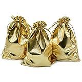WOVELOT Packung Mit 100 5 Zoll x 7 Zoll Schwerlast Kordelzug Organza Schmuckbeutel Hochzeit Party Weihnachten Favor Geschenk Schokolade Taschen (5 Zoll x 7 Zoll, Gold)