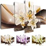 Cuadro en Lienzo 100x50 cm - Tres colores a elegir - 5 partes - Impresion en calidad fotografica - Cuadro en lienzo tejido-no tejido - Flor Azucena abstraccion b-A-0251-b-n 100x50 cm B&D XXL