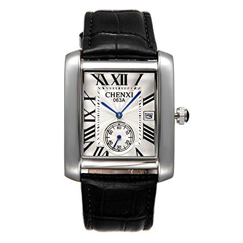 Lancardo Herren Armbanduhr, Leder Legierung, Casual Retro Analog Quarz Kalender Sportuhr Leder Armband Uhr, römische Ziffern Zifferblatt mit unabhängige Stoppuhr, schwarz