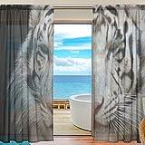 """Yibaihe Cortinas transparentes para ventana, cortinas de tul, cortinas de gasa, tigre blanco, 139,7 cm de ancho x 198,1 cm de largo, 2 paneles para sala de estar, dormitorio y habitación de las niñas, tela, multicolor, 55""""W x 78""""L(140cm x 198cm )"""