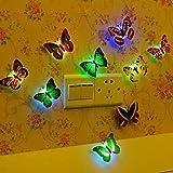Lot de 6lampes papillon multicolores LED en 3D - Autocollants pour murs - Adapté aux bébés et aux enfants pour les fête de Noël et la décoration