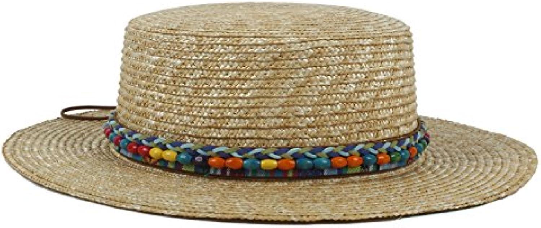 FuweiEncore Paglia da Donna Boater da Sole Cappello Cappello Sole per Lady  Summer Bohemia Beach Piatta aaa2fb246e12