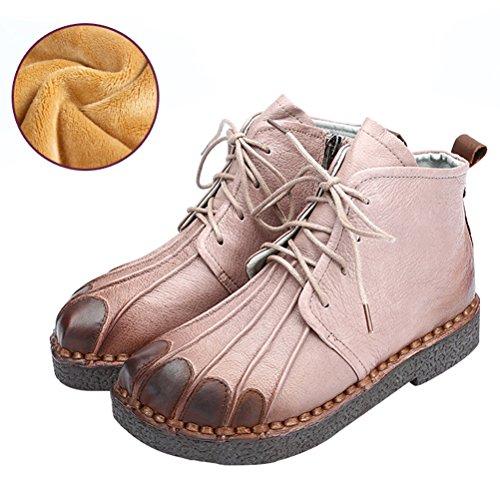 Vogstyle Femmes Main en Cuir Véritable Mère Chaussures Style-1 Toison Sable