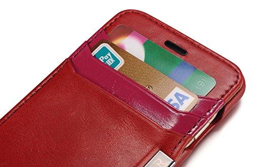 Luxus Tasche für Apple iPhone 6S und iPhone 6 (4.7 Zoll) / Case Außenseite aus Echt-Leder / Innenseite aus Textil / Schutz-Hülle seitlich aufklappbar / ultra-slim Cover / Farbe: Schwarz Rot - vintage mit Kartenfächern