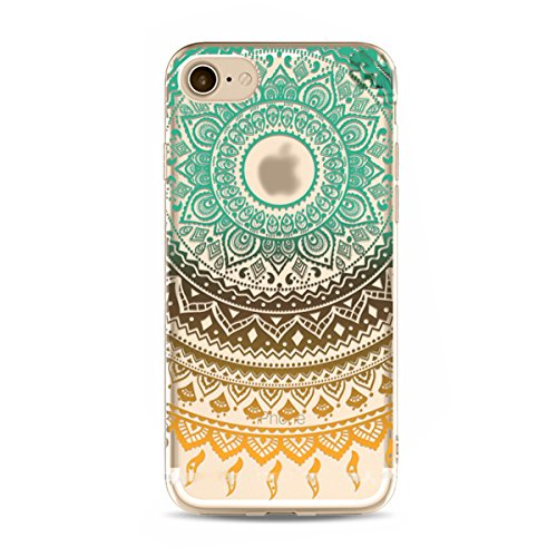 iPhone 6S Plus Hülle,iPhone 6 Plus Hülle,SainCat iPhone 6 Plus/6S Plus Silikon Hülle Tasche Handyhülle Datura Blume Retro Muster Schutzhülle [Kratzfeste, Scratch-Resistant] Transparent TPU Gel Case Bu Datura Blume-#6