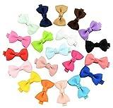 20Pcs cravattino piccoli fiocchi per capelli fermagli per capelli a coccodrillo mollette per bambine e bambini donne multicolore Durable no sfilacciamento scivoli