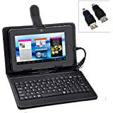80-Keys USB Keyboard PU Protective Case Cover With Stand For 7-inch Tablet PC (Black)