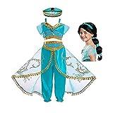 FINDPITAYA Deguisement Aladin Fille Robe Princesse Jasmine Cosplay Costume avec Chapeau et Perruque (5-6 Ans)