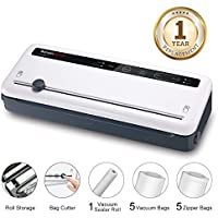Bonsenkitchen Vacuum Sealer Lightweight Food Saver Machine for Dry and Moist Food Fresh Preservation, Vacuum Roll Bags & Hose Included, White VS3801