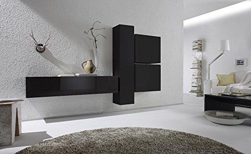 Sodani parete attrezzata mobili salotto 4 mobili sospesi 225x31x139cm boost antracite