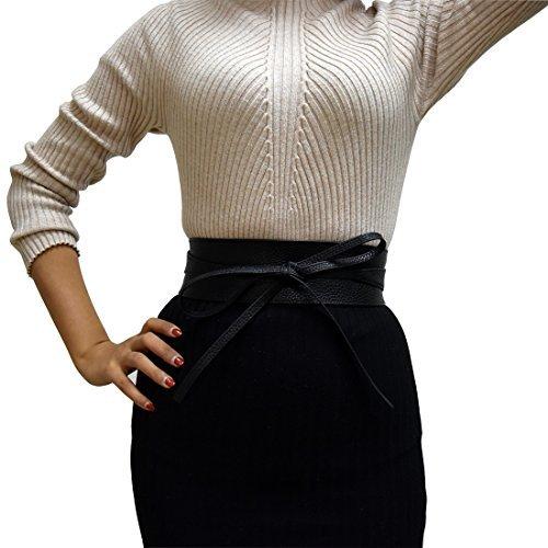 NRTSS Abrigo del Bowknot del lazo del uno mismo de la PU del cuero de la PU de las mujeres alrededor de la correa de cintura para los vestidos, negro