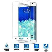 Samsung Galaxy Note Edge Cristal Templado,Vikoo 9H 2.5D Full Cover Anti-shatter Película de La Pantalla de Vidrio Templado para Samsung Galaxy Note Edge Tempered Glass Screen Protector,Blanco