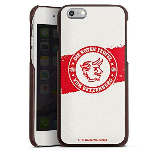Apple iPhone 7 Lederhülle Leder Case Leder Handyhülle 1. FC Kaiserslautern Fanartikel FCK Fußball Leder Case braun