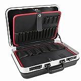 STIER Werkzeugkoffer Basic leer | ABS-Kunststoff Kofferschale | stabil & schlagfest | Tragkraft 15 kg | 30 große Werkzeugtaschen I Abschließbar mit 2 Schlüsseln |