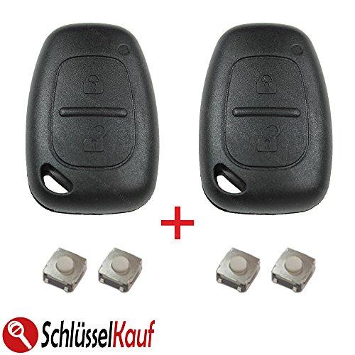 2x Autoschlüssel Gehäuse Renault Master Trafic Opel Movano Vivaro+4x Mikrotaster