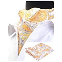 GUSLESON Men's Ascot Paisley Cravat Necktie Floral Jacquard Woven Gift Tie and Pocket Square Set (0603-09)