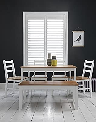 Annika Dining Table and 4 Chairs and Bench in White and Natural Pine Noa & Nani - inexpensive UK light store.