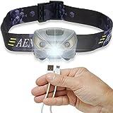 USB Wiederaufladbare LED Lenser Stirnlampe Kopflampe, Sehr hell, wasserdicht, leicht und bequem, Perfekt fürs Joggen, Gehen, Campen, Lesen, Laufen, für Kinder und mehr, inklusive USB Kabel