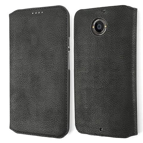 Etui Motorola Moto X 2ème Génération, Coodio Premium Housse en Cuir, Housse, Coque de Protection avec emplacement de carte, Housse Portefeuille Pour Motorola Moto X 2ème Génération,Noir