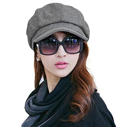 SIGGI Graue Baumwolle Zeitungsjunge Mütze Barett Mütze Für Frauen Mit Visier Hut Wolle Baskenmütze Schirmmütze