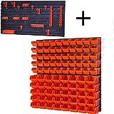 Prosperplast Lager Wandregal Lagerregal, 50 Stapelboxen Orange Gr. 1 POP Serie, 40 Stapelboxen Orange Gr. 2 POP Serie, 6 Wandplatten + Haken