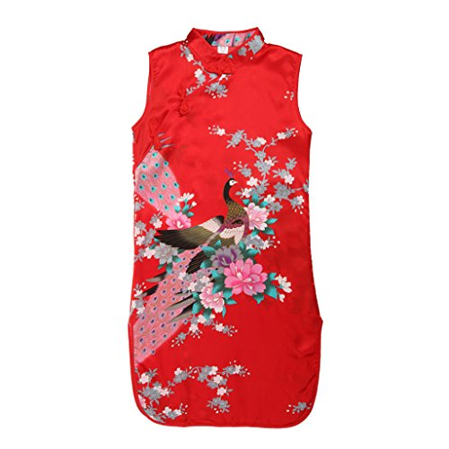 Kinder Mädchen Qipao Cheongsam Geisha Kostüm Partykleider Asia Kinder Qipao - Rot Knöpf , 12