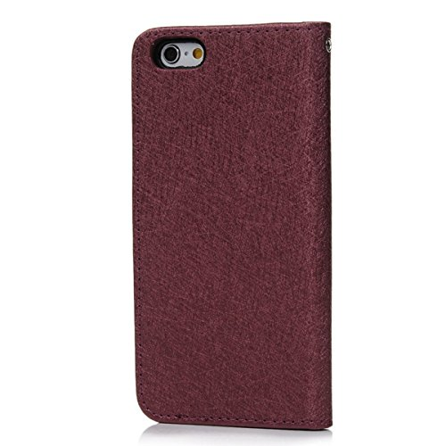 VertTek Coque iPhone 6S, Etui iPhone 6 (4.7 pouces) Étui Housse en Cuir Portefeuille à Rabat Flip Wallet Case Cover Fonction Support Fente Carte Card Slots Fermeture Aimanté Couverture Interne Silicon Marron