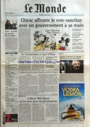 MONDE (LE) [No 18409] du 02/04/2004 - HAITI - ARISTIDE