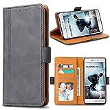 Bozon Huawei P8 Lite 2017 Hülle, Leder Tasche Handyhülle für Huawei P8 Lite (2017) Schutzhülle Flip Wallet mit Ständer und Kartenfächer/Magnetverschluss (Dunkel-Grau)