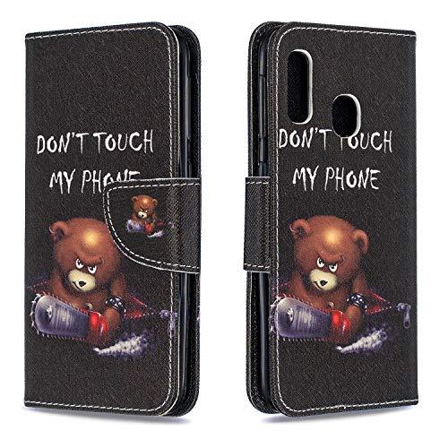 KANTAS Galaxy A20e Hülle, Brieftasche Flip Case Magnet Ultra Dünn Slim Wallet Case Handytasche mit Standfunktion Kartenfach Handy Etui Leder Schutzhülle für Samsung Galaxy A20e, Wütender Bär - Nachricht Bären