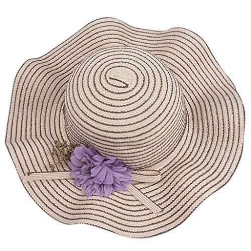 Junjie Damen Lady Casual Gestreifte Floppy Faltbarer Stroh Cooler Hut des zusammenlegbaren Visiers Strandhut Khaki, Navy, Beige, Rosa