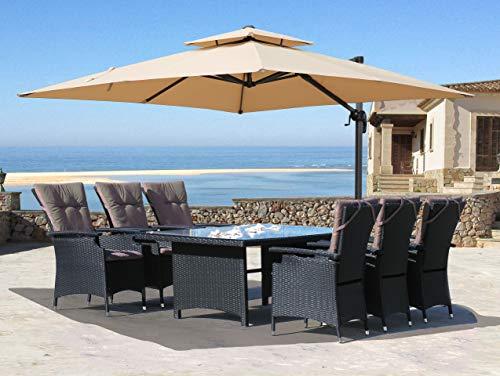 QUICK STAR Ampelschirm Premium Mallorca 3x3m Sand UV50 Terrassenschirm Sonnenschirm