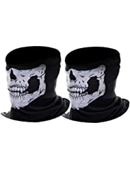 eBoot Tour de cou Masque Tête de Moto Ghost de Skeleton Skull (Noir, 2 Pack)