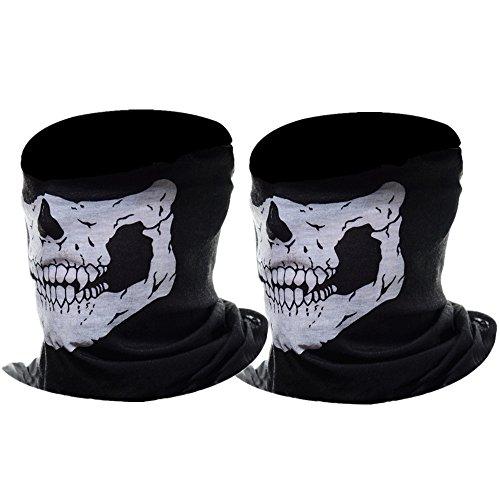eBoot Halber Schädel Motorrad Gesichtsmaske Rohr Maske (Schwarz, 2 Pack)