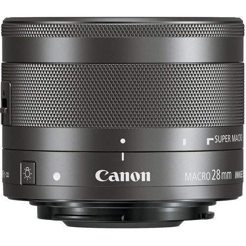 Canon Objektiv EF-M 28mm F3.5 Makro IS STM Lens für EOS M (Festbrennweite, 43mm Filtergewinde, Hybrid IS) schwarz