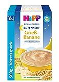 Hipp Gute Nacht Bio-Milchbrei, Grieß Banane, 1er Pack (1 x 500g)