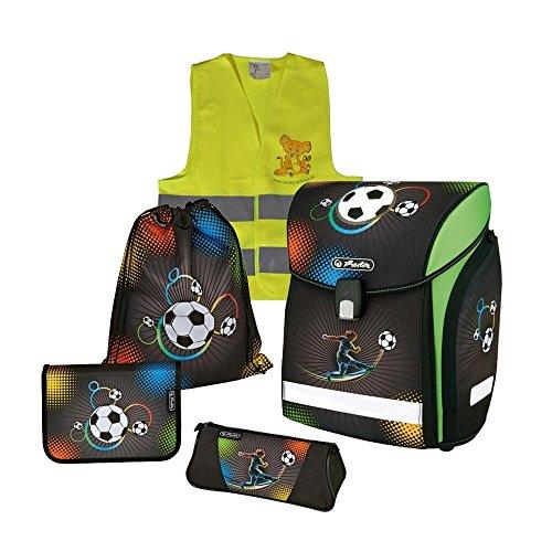 Herlitz Schulranzen Set Midi Plus XL 6 tlg inkl. graviertem Namensschild (Soccer)