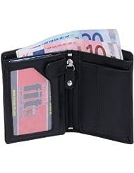 Petit portefeuille LOUANA, cuir véritable, noir 11x9cm