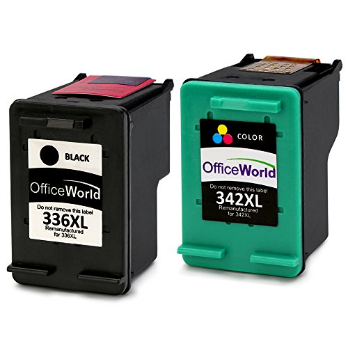 OfficeWorld Remanufactured HP 336 342 Cartuchos de tinta Compatible para HP Photosmart 2713 2710 2575 C3180 8150 D5160, HP Officejet 6310 6313 6315, HP Deskjet 5440 5420 5420v 5432