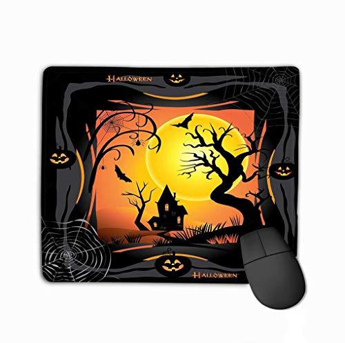 halloween night background pumpkin bat spider web fantasy forest haunted house full moon poster invitation steelserieskeyboard ()