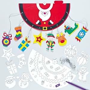 Décorations Mobiles 3D pour Noël à colorier et suspendre pour enfants (Lot de 4)