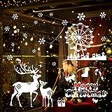 KATELUO Noël Autocollant Fenetre, Noël Autocollants, DIY Fenêtre Noël Stickers Réutilisable PVC Autocollants Stickers Porte Convient aux Surfaces Lisses telles Que Les vitrines (2)