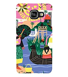 PrintVisa Colorful Tribal Scenery 3D Hard Polycarbonate Designer Back Case Cover for Samsung Galaxy A3 (2016)