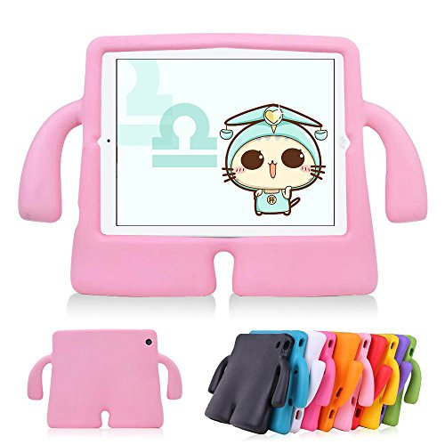 Funda protectora de espuma infantil,CLOUDSTOO protectora suave para Apple iPad 2/3/4 A prueba de golpes Kids Safe Foam Mango Cartoon Case Cover Stand para iPad 2/3/4,color rosa
