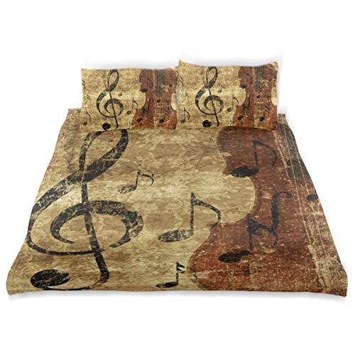 Vipsa Bettwäsche Set Retro Cello Musik Muster 3-teilig Bettwäsche Set 100% Baumwolle mit Reißverschluss Bio-Modern Comforter Set Full/Queen (Queen Bett Set-muster)