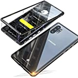 for Samsung Galaxy Note 10+/10 Plus Case Magnetic Adsorption Metal Bumper Frame Transparent Tempered Glass Full Body Front an