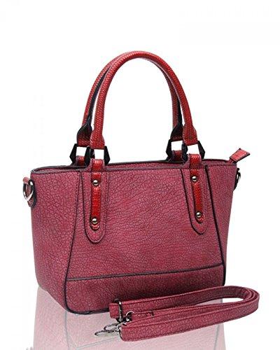 LeahWard® Klein Damen Qualität Faux Leder Tragetaschen Schulter Handtaschen 160665 Schwarz Tragetasche